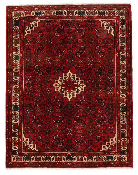 Hosseinabad Matto 150X193 Itämainen Käsinsolmittu Tummanruskea/Tummanpunainen (Villa, Persia/Iran)