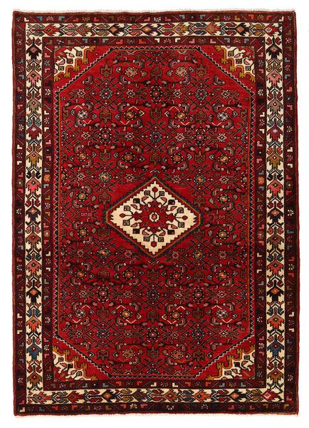 Hosseinabad Matto 140X200 Itämainen Käsinsolmittu Tummanpunainen/Tummanruskea (Villa, Persia/Iran)