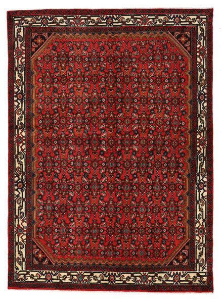Hosseinabad Matto 150X209 Itämainen Käsinsolmittu Tummanpunainen/Tummanruskea (Villa, Persia/Iran)