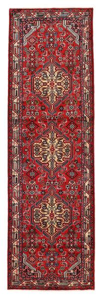 Hamadan Matto 84X280 Itämainen Käsinsolmittu Käytävämatto Tummanpunainen/Tummanharmaa (Villa, Persia/Iran)