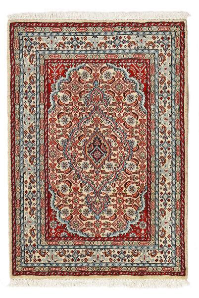 Moud Matto 62X90 Itämainen Käsinsolmittu Tummanpunainen/Tummanruskea (Villa/Silkki, Persia/Iran)