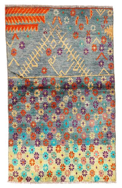Moroccan Berber - Afghanistan Matto 85X142 Moderni Käsinsolmittu Tummanharmaa/Siniturkoosi (Villa, Afganistan)