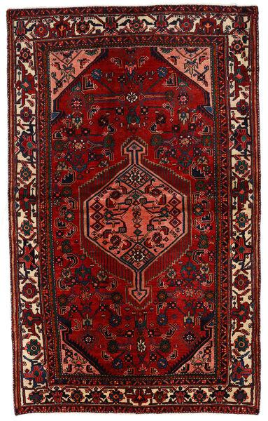 Hosseinabad Matto 132X215 Itämainen Käsinsolmittu Tummanpunainen/Musta (Villa, Persia/Iran)