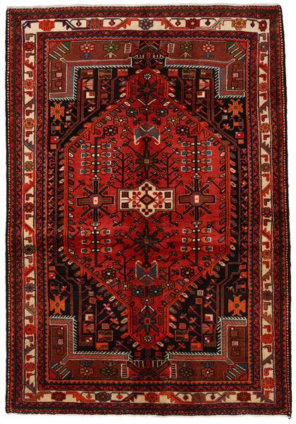Hamadan Matto 142X208 Itämainen Käsinsolmittu Tummanpunainen/Ruoste (Villa, Persia/Iran)