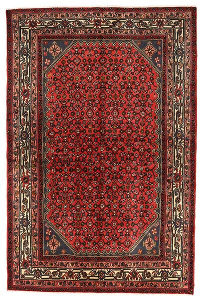 Hosseinabad Matto 150X229 Itämainen Käsinsolmittu Tummanpunainen/Tummanruskea (Villa, Persia/Iran)