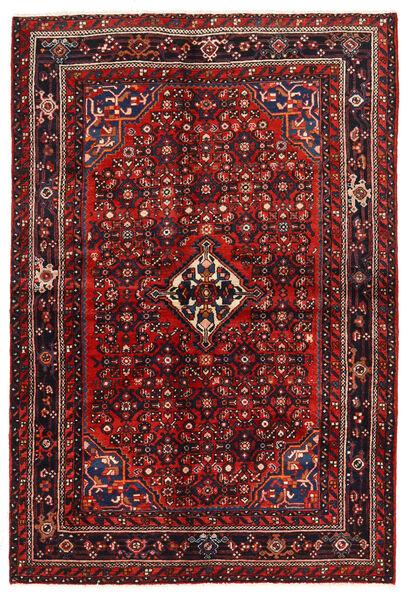 Hosseinabad Matto 143X211 Itämainen Käsinsolmittu Tummanpunainen/Ruoste (Villa, Persia/Iran)