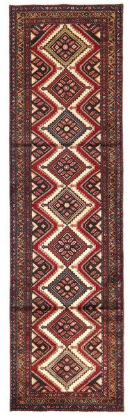 Hamadan Matto 85X300 Itämainen Käsinsolmittu Käytävämatto Tummanpunainen/Tummanruskea (Villa, Persia/Iran)