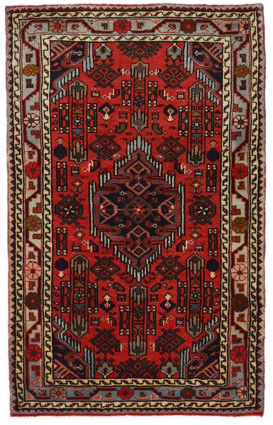 Hamadan Matto 81X130 Itämainen Käsinsolmittu Tummanruskea/Tummanpunainen (Villa, Persia/Iran)