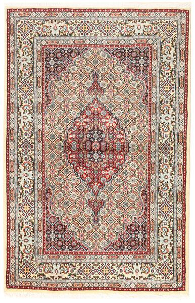 Moud Matto 96X194 Itämainen Käsinsolmittu Ruskea/Tummanbeige (Villa/Silkki, Persia/Iran)