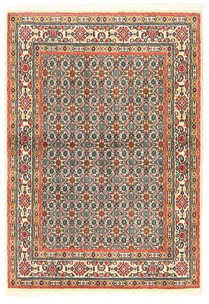Moud Matto 97X138 Itämainen Käsinsolmittu Tummanbeige/Tummanharmaa (Villa/Silkki, Persia/Iran)