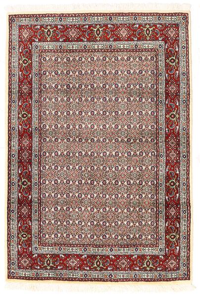 Moud Matto 100X148 Itämainen Käsinsolmittu Beige/Tummanpunainen (Villa/Silkki, Persia/Iran)