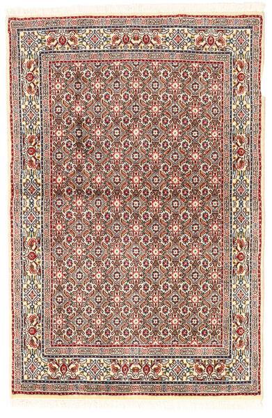 Moud Matto 95X144 Itämainen Käsinsolmittu Beige/Vaaleanharmaa/Tummanpunainen (Villa/Silkki, Persia/Iran)