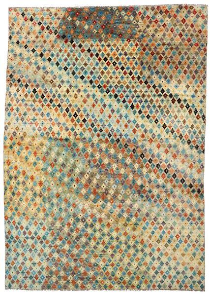 Moroccan Berber - Afghanistan Matto 201X283 Moderni Käsinsolmittu Tummanbeige/Vaaleanvihreä (Villa, Afganistan)