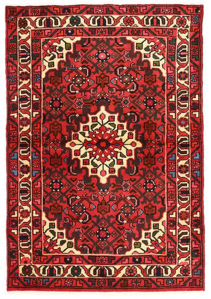 Hosseinabad Matto 95X142 Itämainen Käsinsolmittu Tummanpunainen/Tummanruskea (Villa, Persia/Iran)