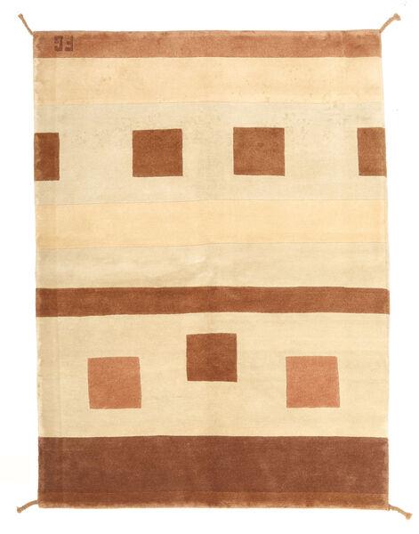 Gabbeh Indo Matto 146X201 Moderni Käsinsolmittu Ruskea/Valkoinen/Creme/Tummanruskea/Beige (Villa, Intia)