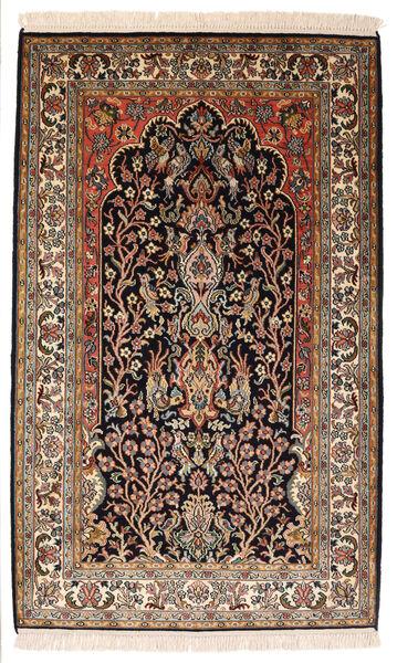 Kashmir 100% Silkki Matto 82X132 Itämainen Käsinsolmittu Musta/Tummanruskea (Silkki, Intia)