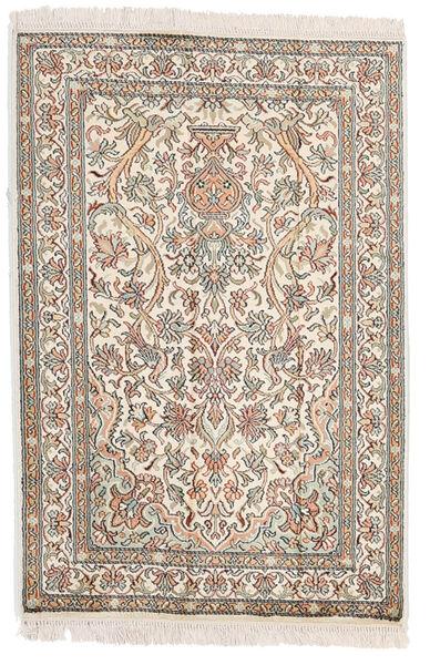 Kashmir 100% Silkki Matto 64X95 Itämainen Käsinsolmittu Vaaleanharmaa/Beige (Silkki, Intia)