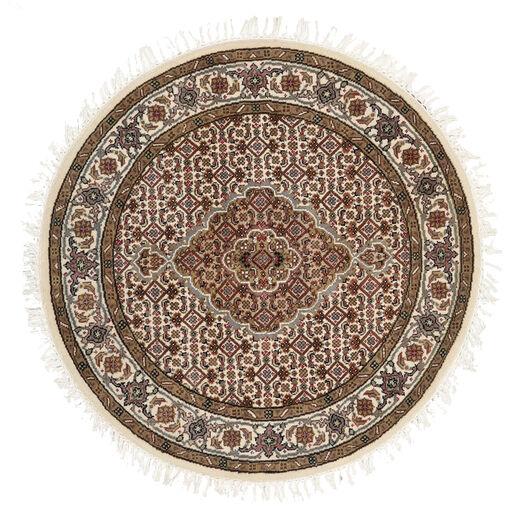 Tabriz Royal Matto Ø 101 Itämainen Käsinsolmittu Pyöreä Ruskea/Beige ( Intia)