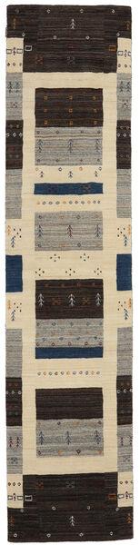 Loribaf Loom Matto 80X345 Moderni Käsinsolmittu Käytävämatto Musta/Tummanbeige (Villa, Intia)