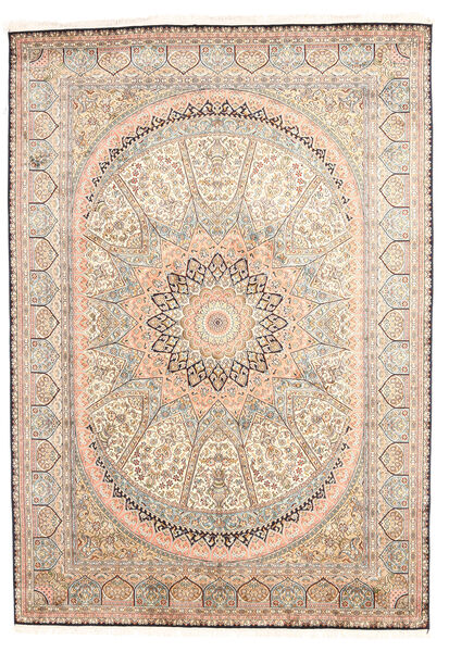 Kashmir 100% Silkki Matto 171X245 Itämainen Käsinsolmittu Keltainen/Vaaleanpunainen (Silkki, Intia)