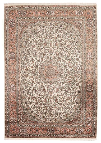 Kashmir 100% Silkki Matto 216X313 Itämainen Käsinsolmittu Tummanruskea/Beige (Silkki, Intia)