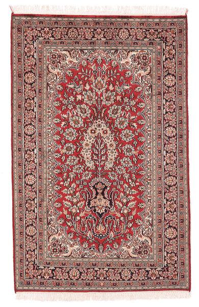 Kashmir 100% Silkki Matto 78X122 Itämainen Käsinsolmittu Tummanruskea/Tummanpunainen (Silkki, Intia)