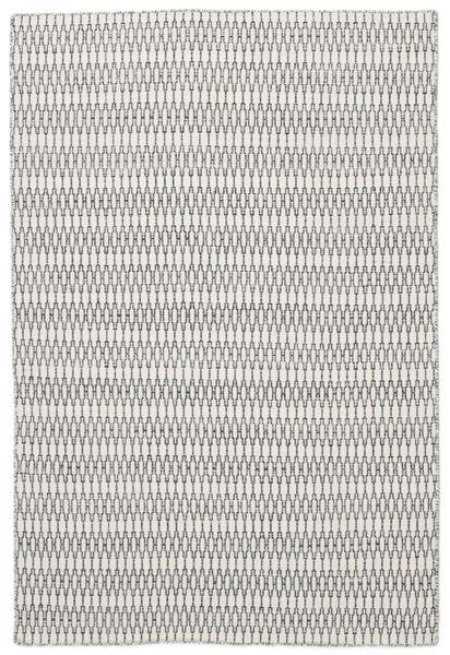 Kelim Long Stitch - Cream/Musta Matto 160X230 Moderni Käsinkudottu Vaaleanharmaa/Beige (Villa, Intia)