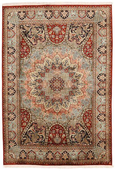 Kashmir 100% Silkki Matto 150X224 Itämainen Käsinsolmittu Tummanruskea/Vaaleanruskea (Silkki, Intia)