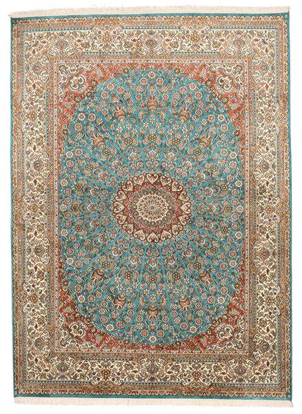 Kashmir 100% Silkki Matto 159X218 Itämainen Käsinsolmittu Ruskea/Tummanharmaa (Silkki, Intia)
