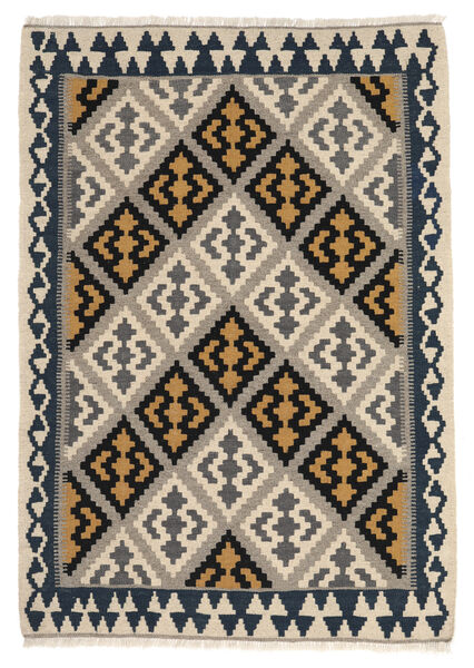 Kelim Matto 105X150 Itämainen Käsinkudottu Vaaleanharmaa/Musta (Villa, Persia/Iran)