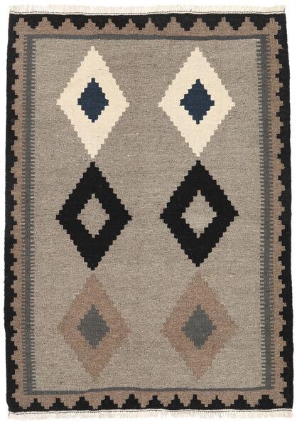 Kelim Matto 107X150 Itämainen Käsinkudottu Vaaleanharmaa/Musta (Villa, Persia/Iran)