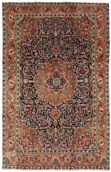 Tabriz Matto 196X308 Itämainen Käsinsolmittu Tummanruskea/Tummanharmaa (Villa, Persia/Iran)