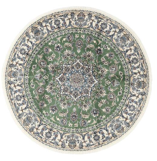 Nain Matto Ø 200 Itämainen Käsinsolmittu Pyöreä Beige/Tummanvihreä (Villa, Persia/Iran)