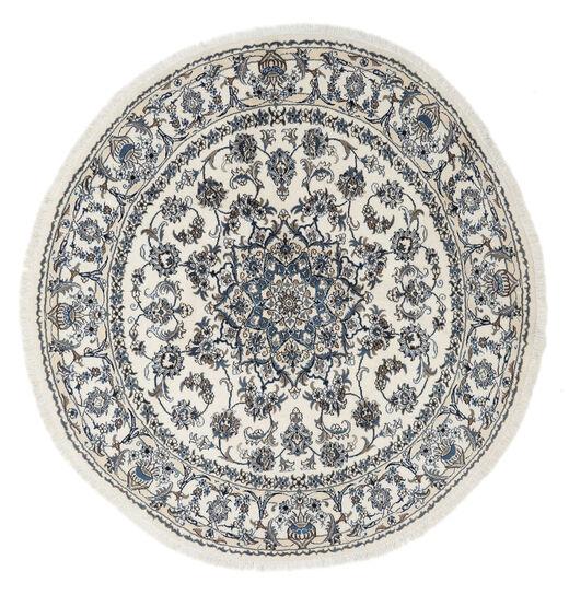 Nain Matto Ø 200 Itämainen Käsinsolmittu Pyöreä Vaaleanharmaa/Tummanharmaa/Tummanbeige (Villa, Persia/Iran)