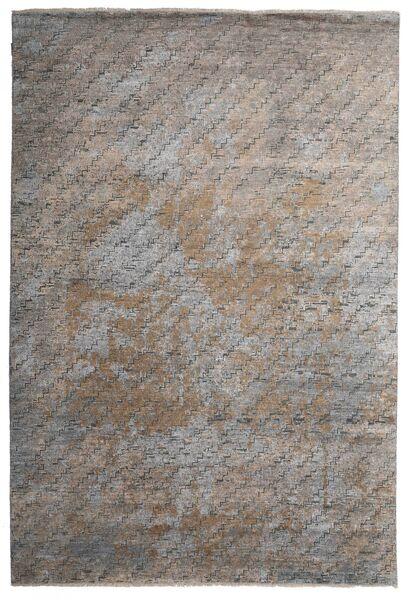Damask Indo Matto 199X292 Moderni Käsinsolmittu Vaaleanharmaa/Tummanharmaa (Villa/Bambu Silkki, Intia)