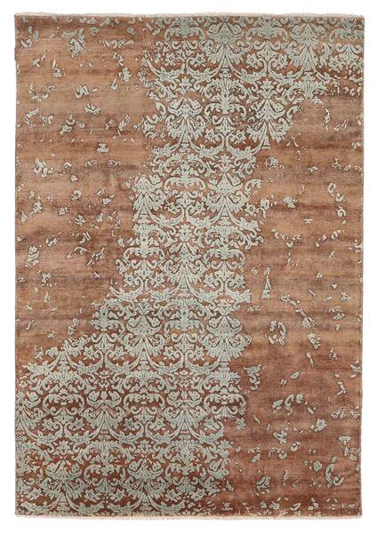 Damask Indo Matto 172X245 Moderni Käsinsolmittu Ruskea/Vaaleanharmaa (Villa/Bambu Silkki, Intia)