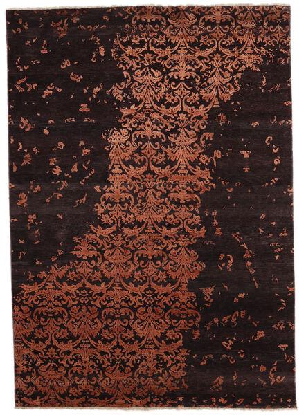 Damask Indo Matto 171X242 Moderni Käsinsolmittu Tummanruskea/Tummanpunainen (Villa/Bambu Silkki, Intia)