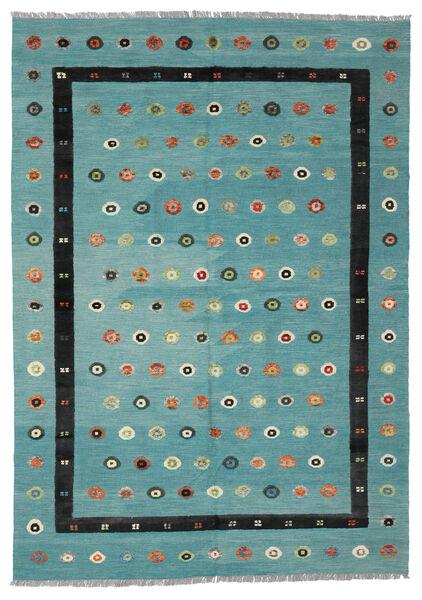 Kelim Nimbaft Matto 208X292 Moderni Käsinkudottu Tumma Turkoosi/Musta (Villa, Afganistan)