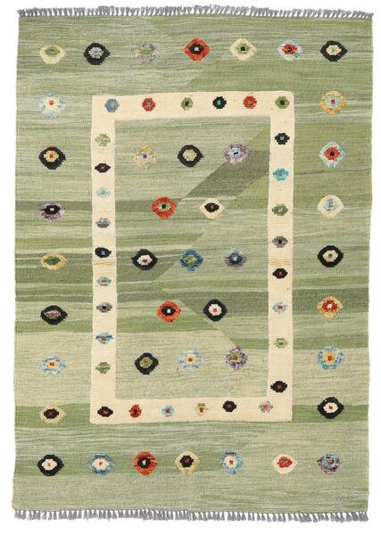 Kelim Moderni Matto 107X151 Moderni Käsinkudottu Vaaleanvihreä/Valkoinen/Creme (Villa, Afganistan)