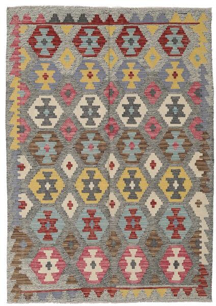 Kelim Afghan Old Style Matto 126X179 Itämainen Käsinkudottu Tummanharmaa/Vaaleanharmaa (Villa, Afganistan)