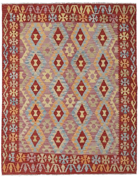 Kelim Afghan Old Style Matto 155X197 Itämainen Käsinkudottu Tummanpunainen/Tummanbeige (Villa, Afganistan)