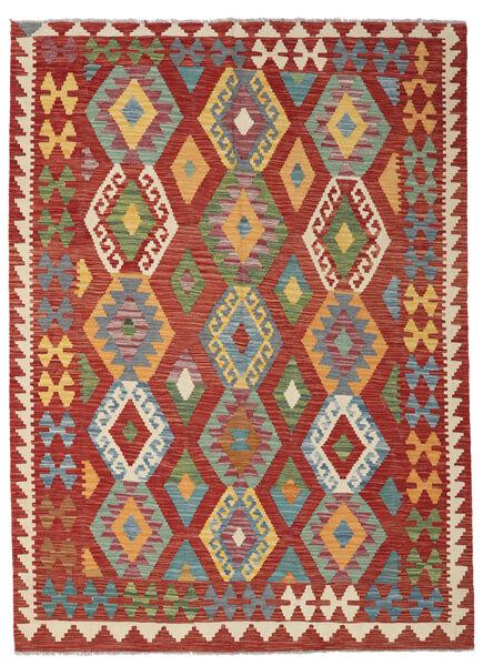 Kelim Afghan Old Style Matto 155X208 Itämainen Käsinkudottu Tummanpunainen/Tummanvihreä (Villa, Afganistan)