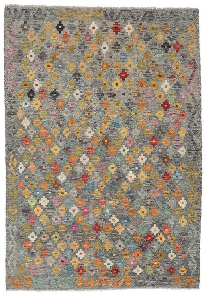 Kelim Afghan Old Style Matto 128X185 Itämainen Käsinkudottu Vaaleanharmaa/Tummanharmaa (Villa, Afganistan)
