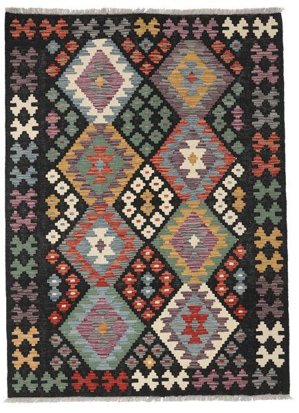 Kelim Afghan Old Style Matto 127X172 Itämainen Käsinkudottu Musta/Vaaleanruskea (Villa, Afganistan)