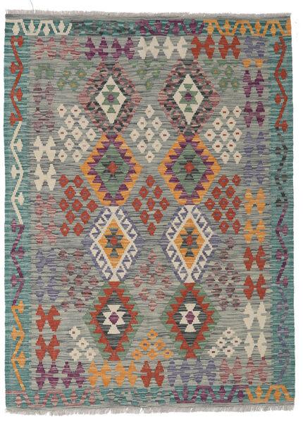 Kelim Afghan Old Style Matto 130X175 Itämainen Käsinkudottu Tummanharmaa/Vaaleanharmaa/Tummanvihreä (Villa, Afganistan)
