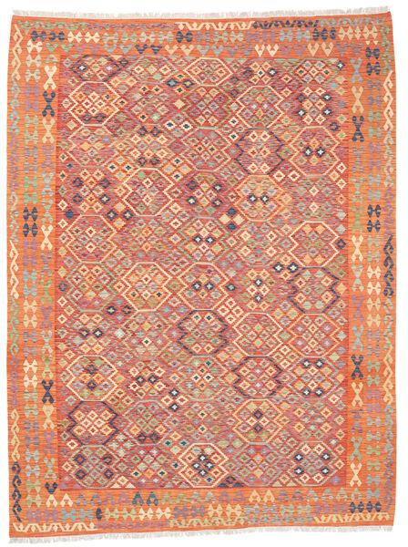 Kelim Afghan Old Style Matto 257X336 Itämainen Käsinkudottu Oranssi/Beige Isot (Villa, Afganistan)