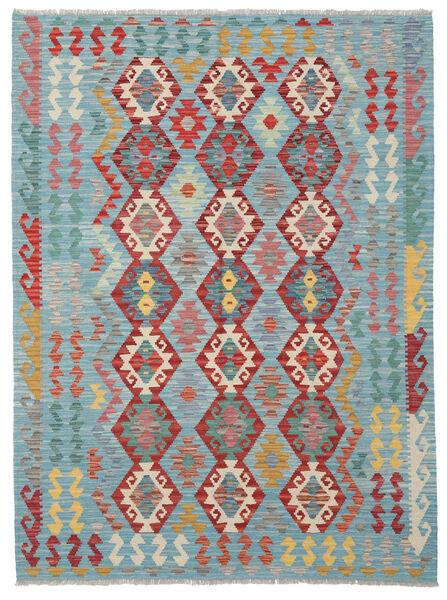 Kelim Afghan Old Style Matto 149X200 Itämainen Käsinkudottu Siniturkoosi/Tummanpunainen (Villa, Afganistan)