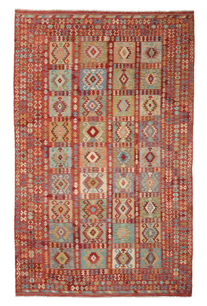 Kelim Afghan Old Style Matto 298X486 Itämainen Käsinkudottu Tummanpunainen/Vaaleanruskea Isot (Villa, Afganistan)