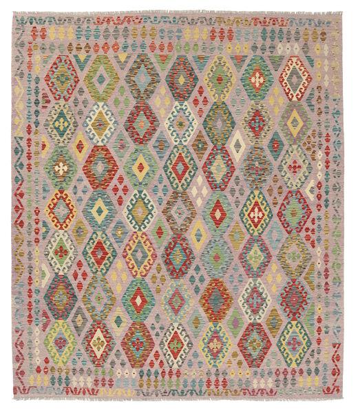 Kelim Afghan Old Style Matto 263X291 Itämainen Käsinkudottu Vaaleanruskea/Vaaleanharmaa Isot (Villa, Afganistan)