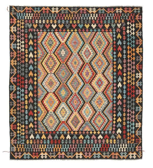 Kelim Afghan Old Style Matto 260X294 Itämainen Käsinkudottu Musta/Tummanharmaa Isot (Villa, Afganistan)